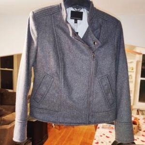 ❤️ NWT Banana Republic grey wool moto jacket sz S